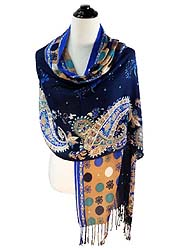 PAISLEY PATTERN VISCOSE FRINGE DROP SCARF - Wholesale Fashion Accessories