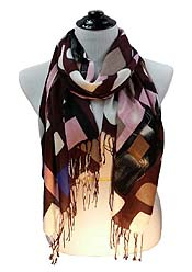 BLOCK PATTERN VISCOSE FRINGE DROP SCARF