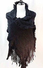 KNITTED FRINGE DROP SHAWL