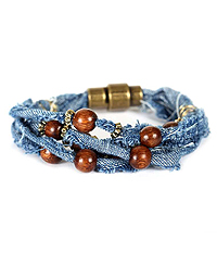 WOOD BALL AND MULTI DENIM CORD MAGNETIC BRACELET