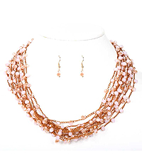 GLASS BEAD AND MULTI LAYER FINE CHAIN NECKLACE SET