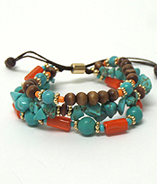LAYER STONE AND BEADS PULL TIE BRACELET