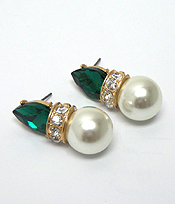 GLASS STONE AND PEARL EARRINGS