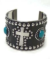 TURQUOISE STONE WITH METAL CROSS METAL CUFF BRACELET