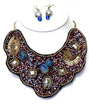 MULTI SEED BEADS WITH STONES BIB NECKLACE SET