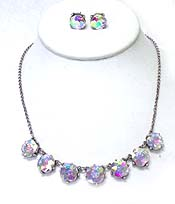 CATHERINE POPESCO iNSPIRED CRYSTALS LINK NECKLACE EARRING SET