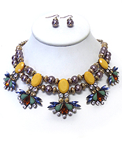 BOUTIQUE STYLE CRYSTAL AND PEARL NECKACE SET - Wholesale Jewelry