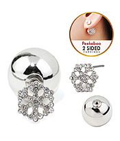 CRYSTAL SNOWFLAKE FRONT AND BACK DOUBLE SIDED EARRING