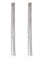 RHINESTONE MULTI LINE DROP LONG EARRING