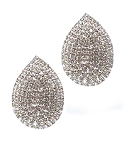 RHINESTONE TEARDROP CLIP ON EARRING