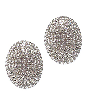 RHINESTONE OVAL CLIP ON EARRING