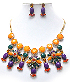 MULTI CRYSTAL AND FACET STONE MIX FLOWER LINK SHOUROUK STYLE NECKLACE EARRING SET