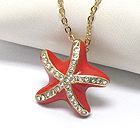 PREMIER ELECTRO PLATING CRYSTAL AND EPOXY DECO STARFISH PENDANT NECKLACE - SEA LIFE