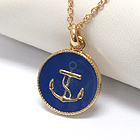 PREMIER ELECTRO PLATING EPOXY DECO ANCHOR DISK PENDANT NECKLACE - NAUTICAL