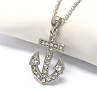 PREMIER ELECTRO PLATING CRYSTAL ANCHOR PENDANT NECKLACE