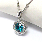 PREMIER ELECTRO PLATING CRYSTAL AND FACET GLASS CENTER PENDANT NECKLACE