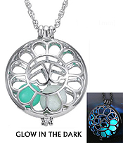 METAL FILIGREE HEART DISK GLOW IN THE DARK NECKLACE