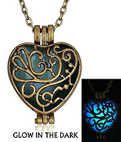 METAL FILIGREE PUFFY HEART GLOW IN THE DARK NECKLACE