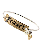HANDMADE BAR AND WIRE BANGLE BRACELET - GRACE