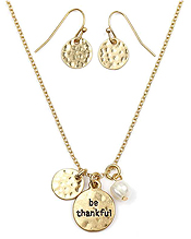 INSPIRATION MESSAGE DISK NECKLACE SET - BE THANKFUL