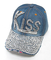 RHINESTONE WORN DENIM BASEBALL CAP - KISS