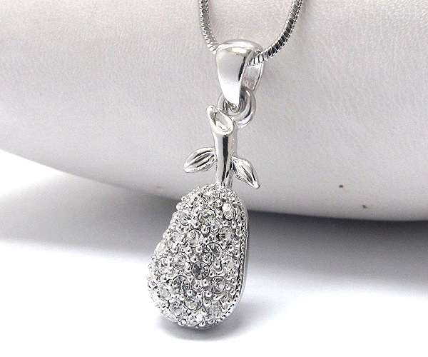 WHITEGOLD PLATING CRYSTAL PEAR FRUIT PENDANT NECKLACE