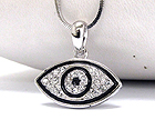 WHITE GOLD PLATING CRYSTAL STUD GUARDIAN EVIL EYE PENDANT NECKLACE