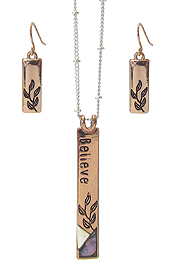 RELIGIOUS INSPIRATION ABALONE PENDANT NECKLACE SET - BELIEVE
