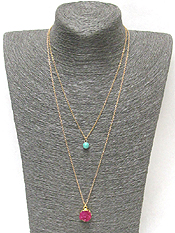 DOUBLE LAYER DRUZY AND TURQUOISE NECKLACE