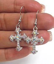 CRYSTAL CROSS DROP EARRING