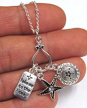 SEA LIFE CHARM METAL NECKLACE - TAKE ME TO THE SEA