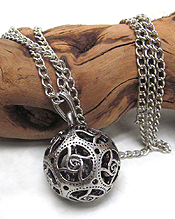 TIBETAN SILVER METAL TEXTURED BELL NECKLACE