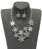 MULTI SNOWFLAKES LINK NECKLACE SET