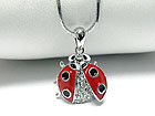 WHITEGOLD PLATING CRYSTAL AND EPOXY SMALL LADYBUG PENDANT NECKLACE