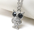 PREMIER ELECTRO PLATING CRYSTAL OWL PENDANT NECKLACE - Wholesale Jewelry