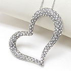 PREMIER ELECTRO PLATING CRYSTAL DECO TIFFANY STYLE HEART PENDANT NECKLACE