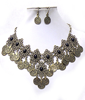 METAL LINKED COINS DROP WITH STONES NECKLACE SET