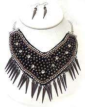 MULTI DARK STONES  BIB STYLE WITH POINTY DROP NECKLACE SET