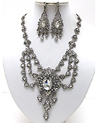 LUXURY CLASS VICTORIAN STYLE AUSTRIAN CRYSTAL HANGING DROP PARTY NECKLACE EARRING SET