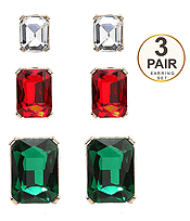 SQUARE GLASS 3 PAIR EARRING SET