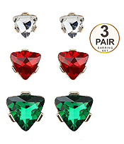 TRIANGLE GLASS 3 PAIR EARRING SET