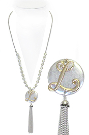 MONOGRAM AND TASSEL DROP LONG PEARL NECKLACE - L