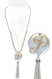 MONOGRAM AND TASSEL DROP LONG PEARL NECKLACE - P