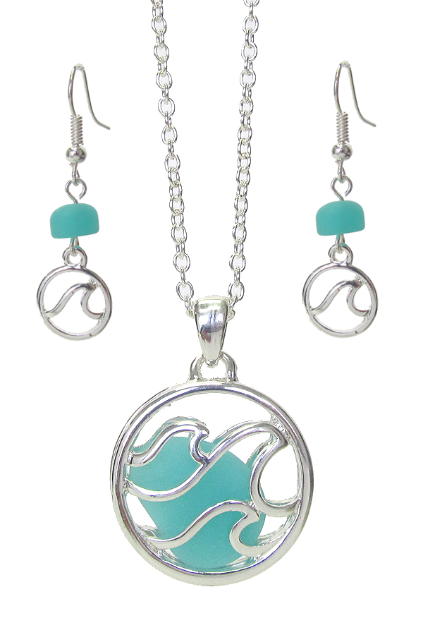FLOATING SEA GLASS PENDANT NECKLACE SET - WAVE