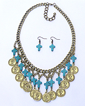 MULTI TURQUOISE CROSS AND COIN DROP NECKLACE SET