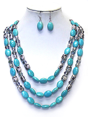 TURQUOISE STONE AND METAL BEAD MIX 3 LAYER NECKLACE SET