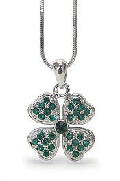 WHITEGOLD PLATING SAINT PATRICK THEME CRYSTAL FOUR LEAVES CLOVER NECKLACE - SHAMROCK