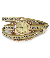 CRYSTAL STUD LEATHER BAND AND CHAIN MIX WRAP WATCH
