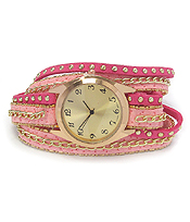 LAYER LETATHER MIX CHAIN WRAP WATCH