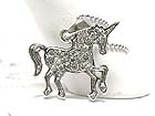 WHITE GOLD PLATING CRYSTAL UNICORN HORSE NECKLACE